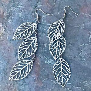 Anthropologie silver leaf EARRINGS long cut out
